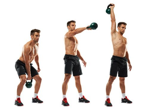 Now Bend Down To Swing The Kettlebell Between Your Legs And Then It Upward Right Overhead By Raising Arm Straight Over Head