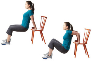 Tricep dips using chair