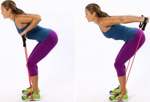 Bent-Over Row with resistance bands